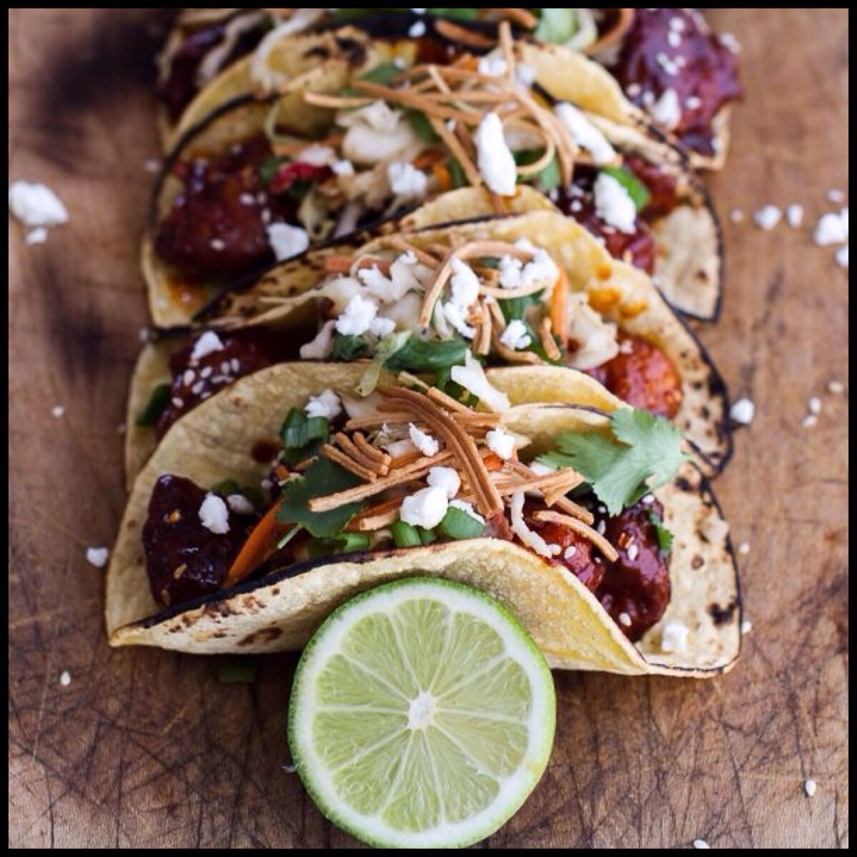 Korean fried chicken tacos with sweet slaw crunchy noodles queso korean fried chicken tacos with sweet slaw crunchy noodles queso fresco forumfinder Choice Image